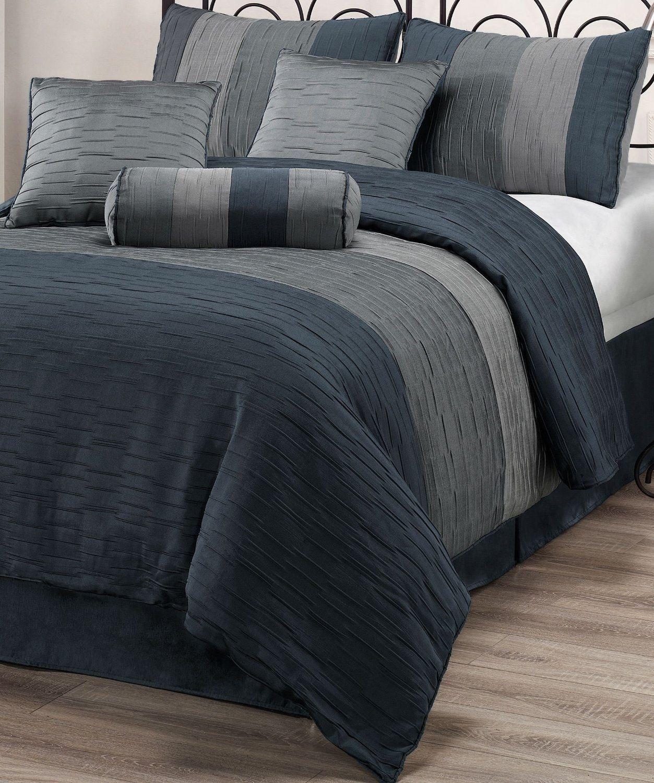 7 Piece Comforter Set Slate Blue Charcoal Grey Silver Stripe
