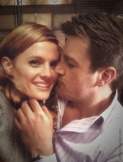 Off camera photo...They are too cute for words! -- Nathan Fillion | Stana Katic | Castle TV show