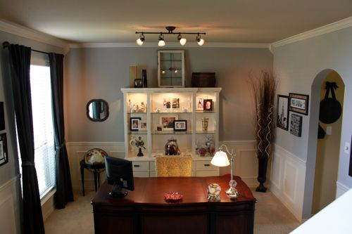 Turning a formal dining room into an office open floor for Office dining room ideas