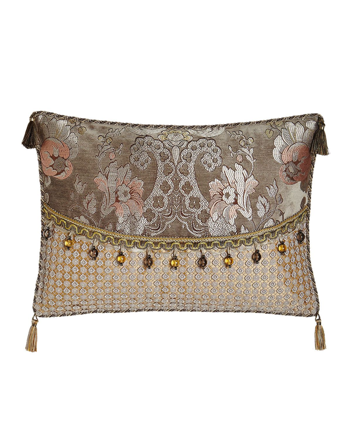 Sweet Dreams French Chateau Pieced Pillow With Bead Trim 19 X 16 Beaded Pillow Decorative Pillows Silver Pillows