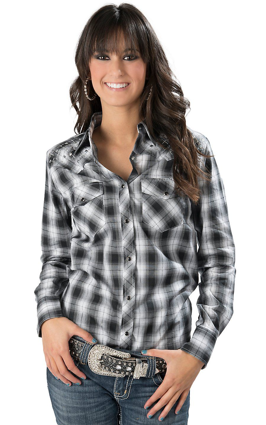 2b932185 Cowgirl Hardware® Women's Black and White Plaid with Silver Lurex and  Diamond Studs Long Sleeve Western Shirt