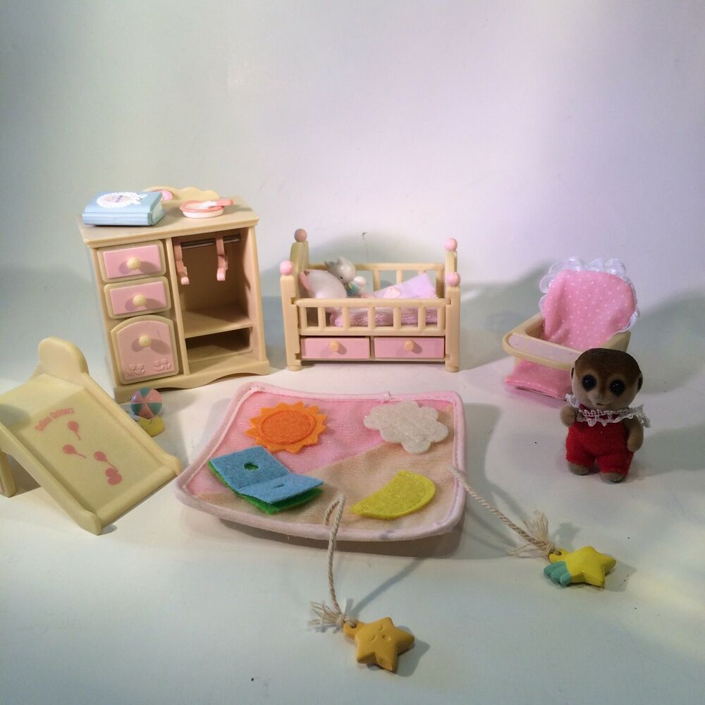 Sylvanian Calico Critters Nursery Set And 1 Baby Meerkat In Red Outfit Calicocritters In 2020 Nursery Set Baby Meerkat Pastel Nursery