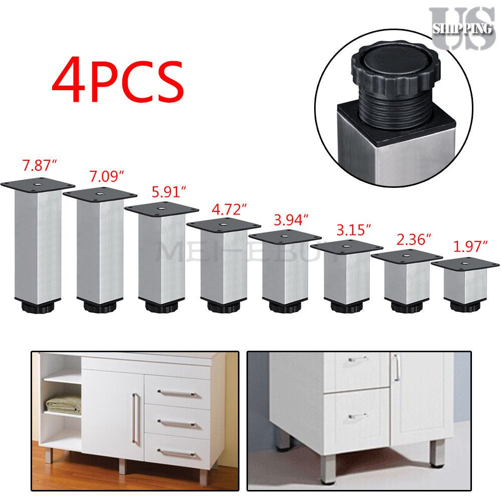 4x Stainless Steel Kitchen Cabinet Leg Square Round Sofa Furniture Feet Base Metal Table Legs Stainless Steel Kitchen Cabinets Kitchen Cabinets With Legs