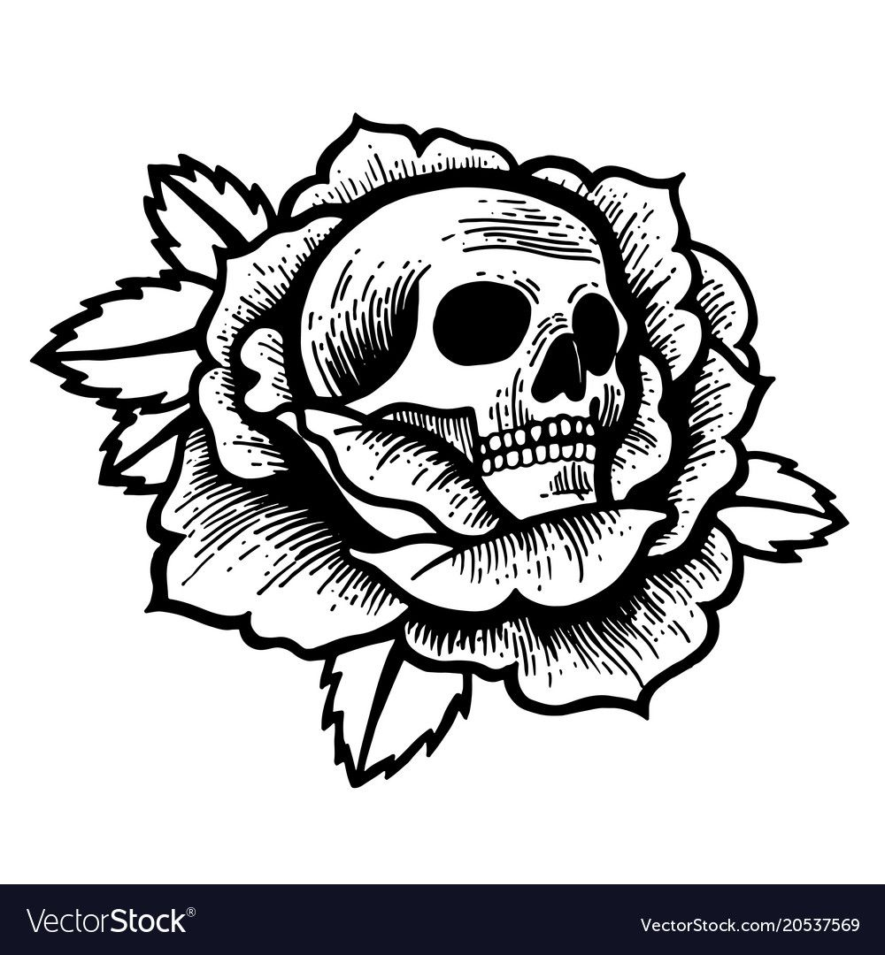 Old school rose tattoo with skull vector image on