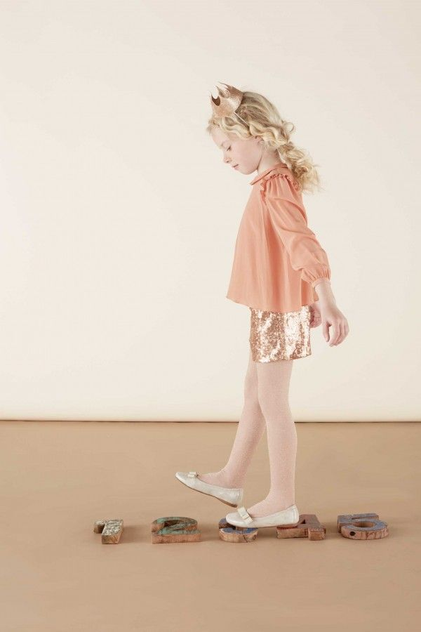 Silk blouse and golden sequin shorts for Xmas party girls winter 2014 at Marie Chantal