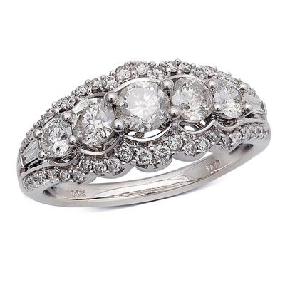 1-1/4 CT. T.W. Diamond Five Stone Frame Anniversary Ring in 14K White Gold - Zales