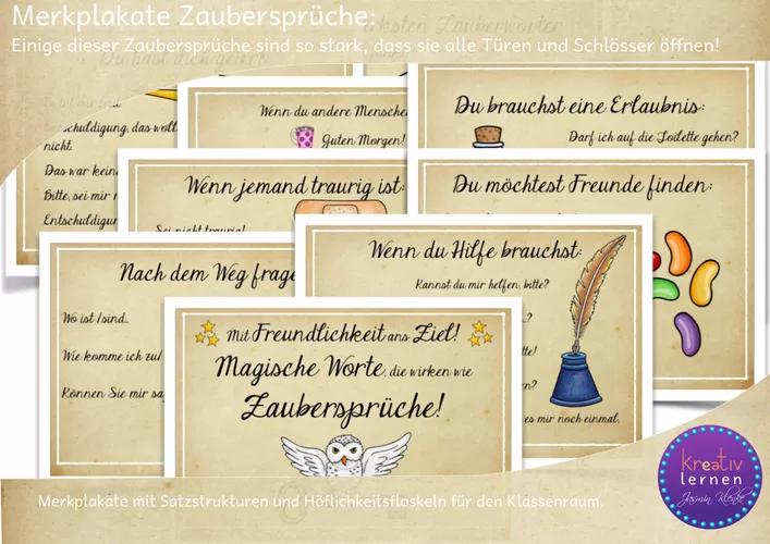 Merkplakate Magische Worte Die Wirken Wie Zauberspruche Unterrichtsmaterial Im Fach Fachubergreifendes Spielerisches Lernen Worter Sprachsensibler Unterricht