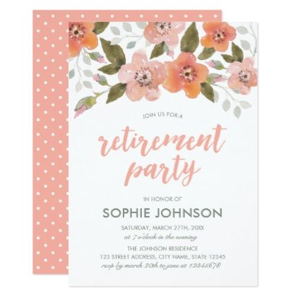 Peach Delicate Floral Retirement Party Invitation  Party Gifts Gift