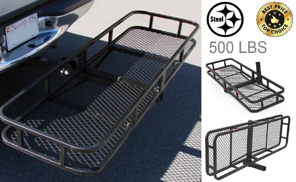 "Steel Car Basket 60"" Folding Cargo Carrier Luggage Hitch"