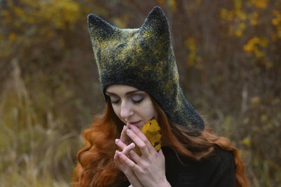 8e690d9d57f Autumnal Fox hat. Felted winter eared hat. Cute woodland animal hat. Fairy cat  hat. Funny   cozy fox