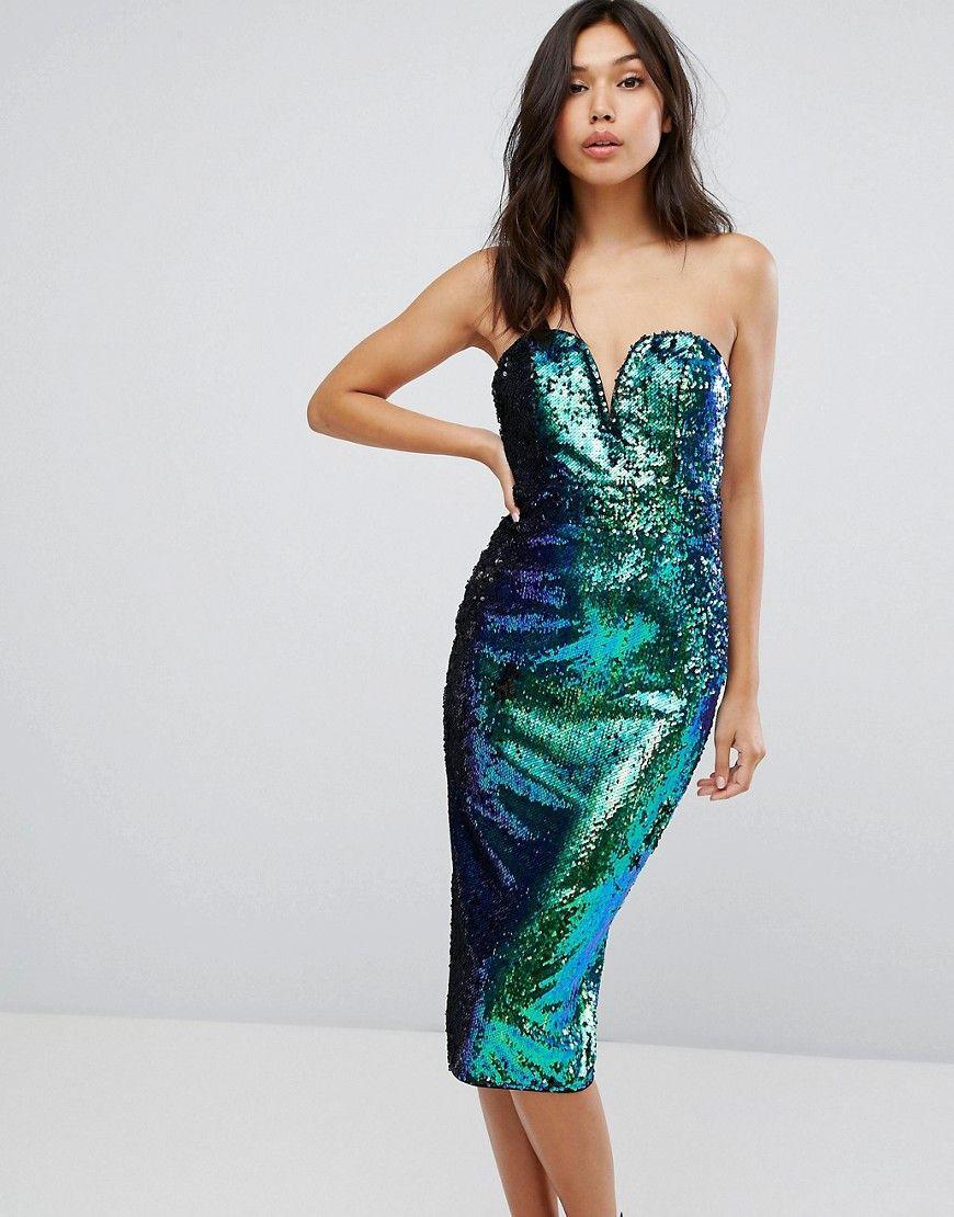 1b4243fd4618 TFNC Bandeau Fish Scale Sequin Midi Dress | Occassions | Sequin midi ...
