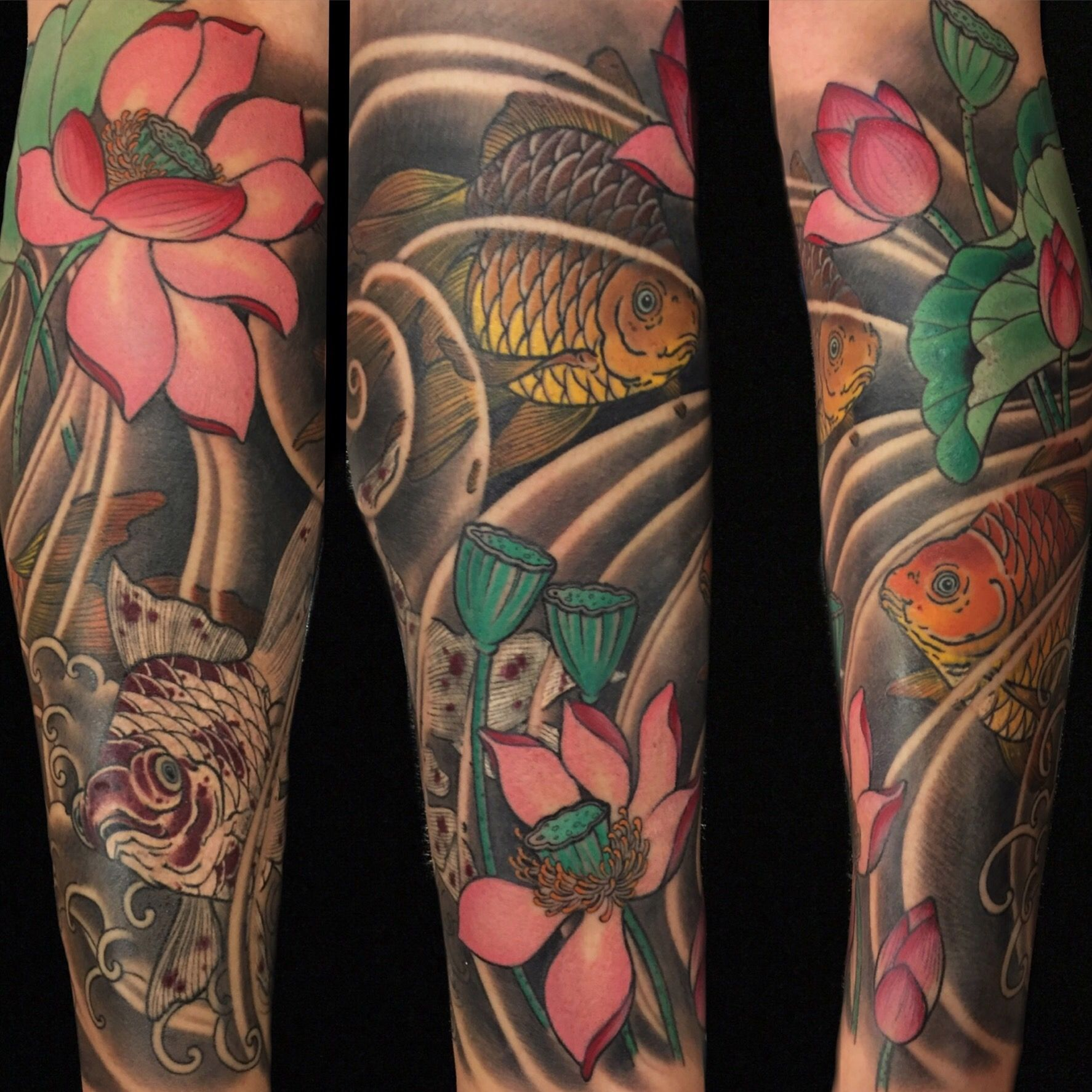 Goldfish Kingyo And Lotus Japanese Style Tattoos By Cindy Maxwell Seventh Son Tattoo San Francisco California Da Japanese Tattoo Tattoos Tattoo For Son