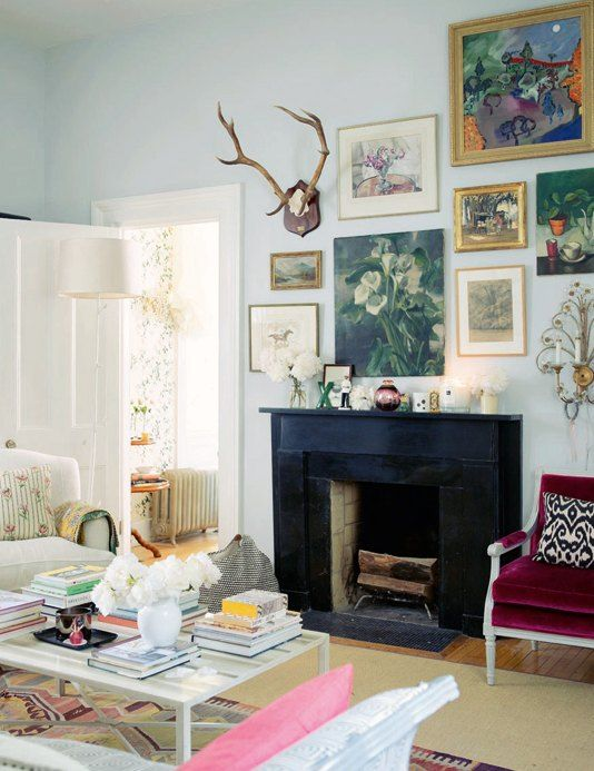How To Decorate Around A Fireplace Eclectic Gallery Wall Home