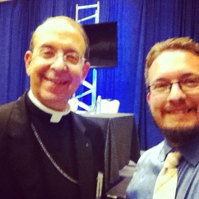 Our CNA reporter to the #USCCB conference has been sending us #selfies with bishops from around the country! Here he is with Archbishop William Lori of #Baltimore! #selfieswithclergy #Catholic #church #faith