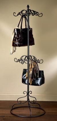 Scarf Purse Display Tree Stand 2 Tier Black Metal New In Box