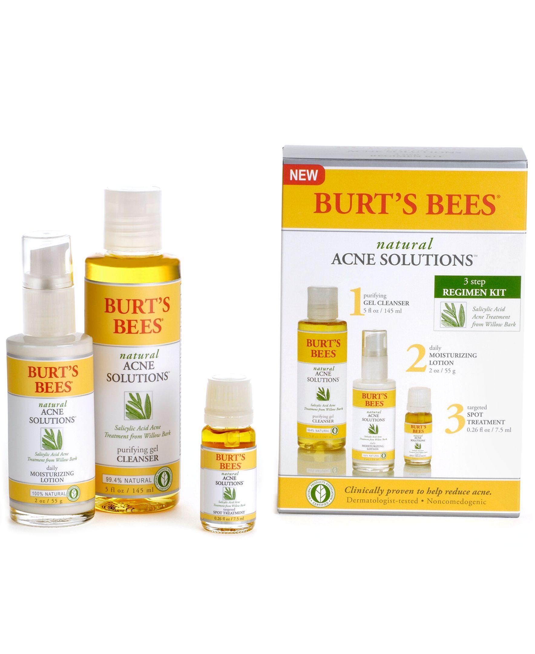 Burt S Bees Natural Acne Full Size Regimen Kit Natural Acne Burts Bees Acne Solutions Natural Skin Care