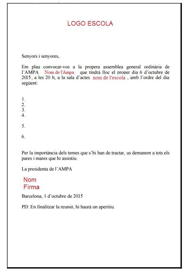 Calendario Escolar Barcelona.Ejemplo Circular Ampa Carta Convocatoria Reunion Padres