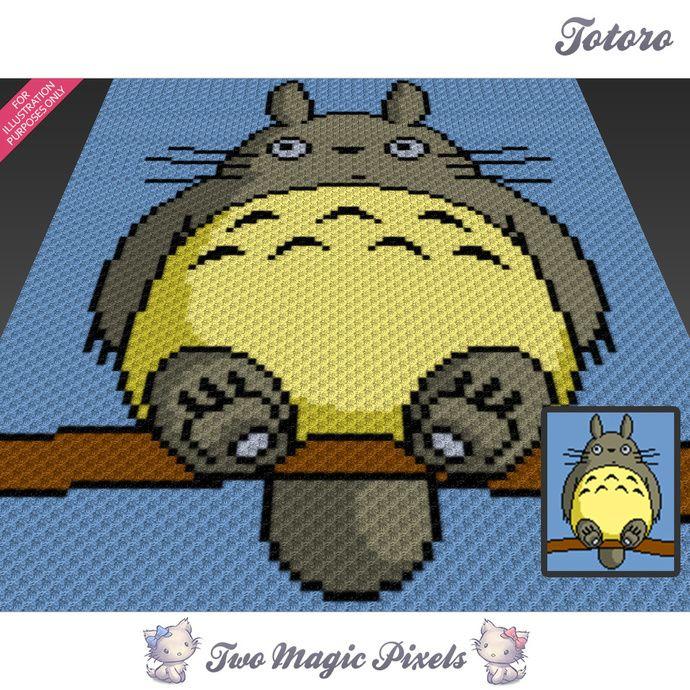 Totoro crochet blanket pattern; c2c, knitting, cross stitch graph ...