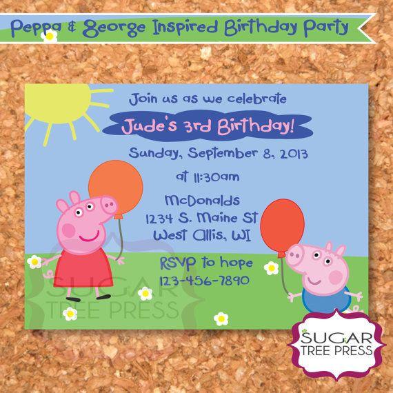 Peppa Pig Birthday InvitationDIY Printable by SugarTreePress – Pig Birthday Party Invitations