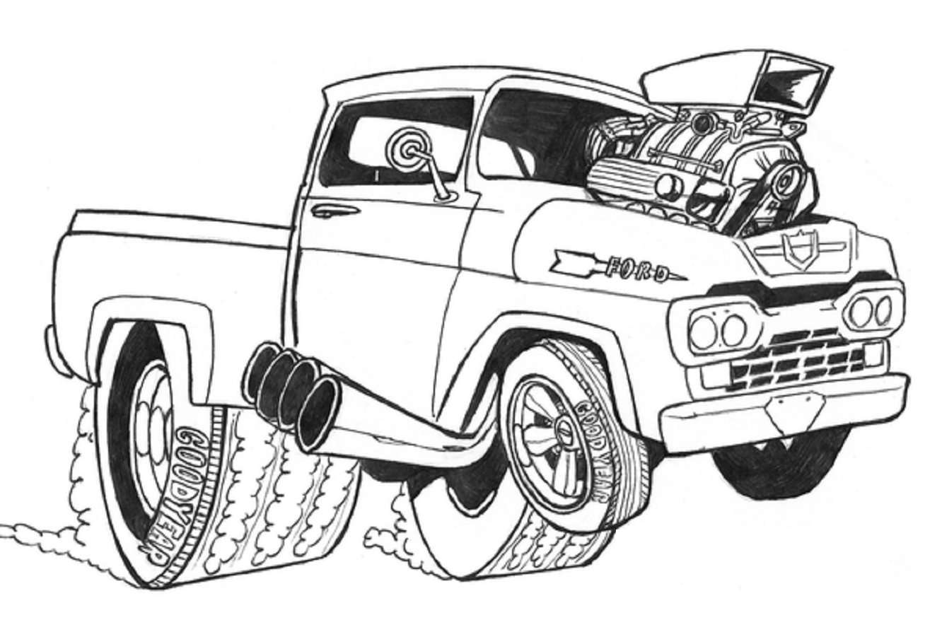 2014 2016 Hot Rod Pickup Truck Truck Art Car Wall Art Monster Truck Coloring Pages