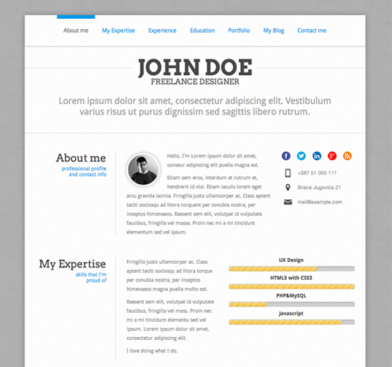 this wordpress resume theme is based on bootstrap and it comes with a responsive layout - Wordpress Resume Template