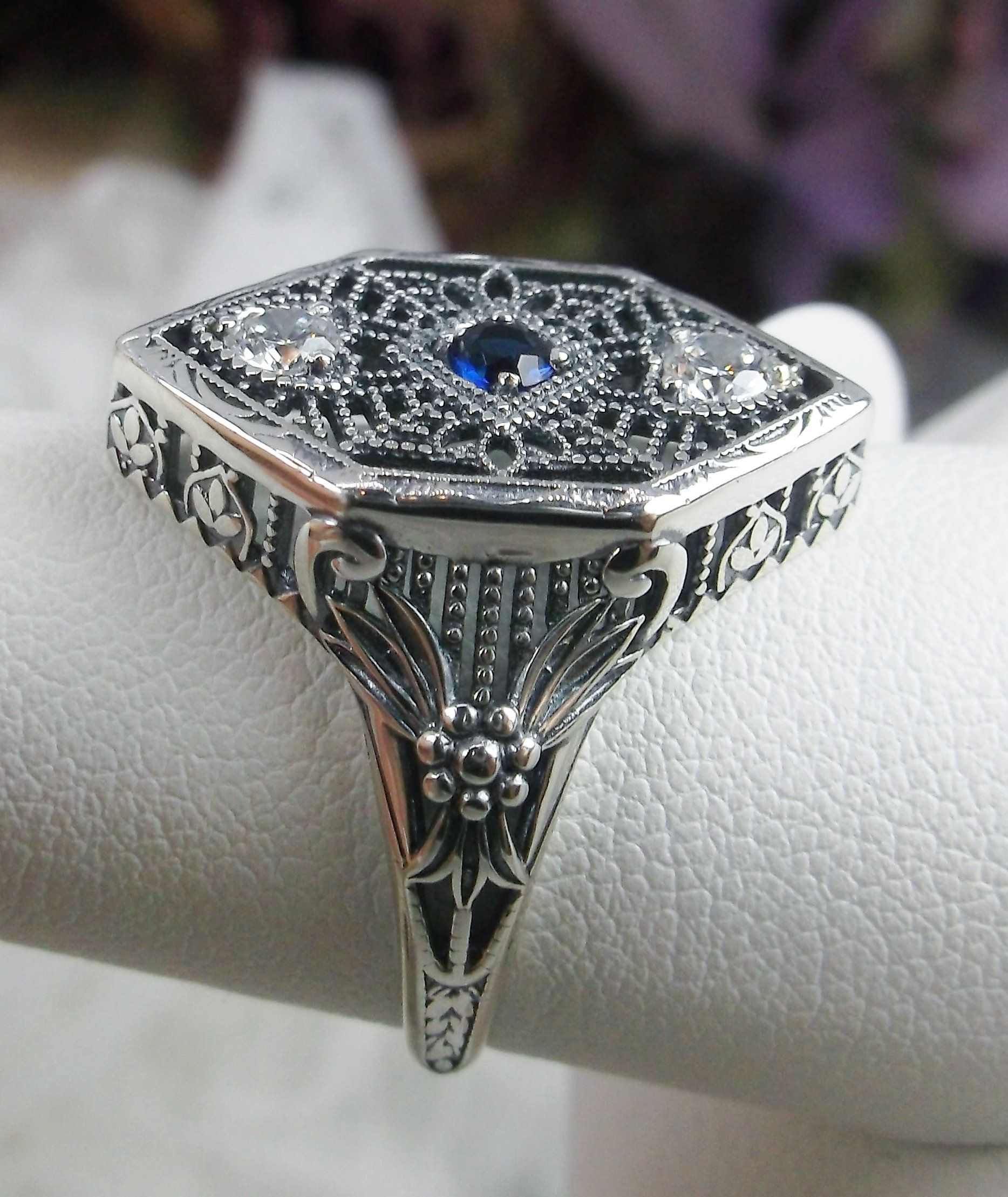 Sim Sapphire /& White CZ Deco 1930s Sterling Silver Filigree Ring {Made To Order}