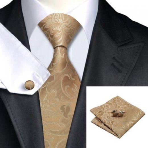 Gold Ivory Paisley Silk Wedding Tie Pocket Square Cufflink Set