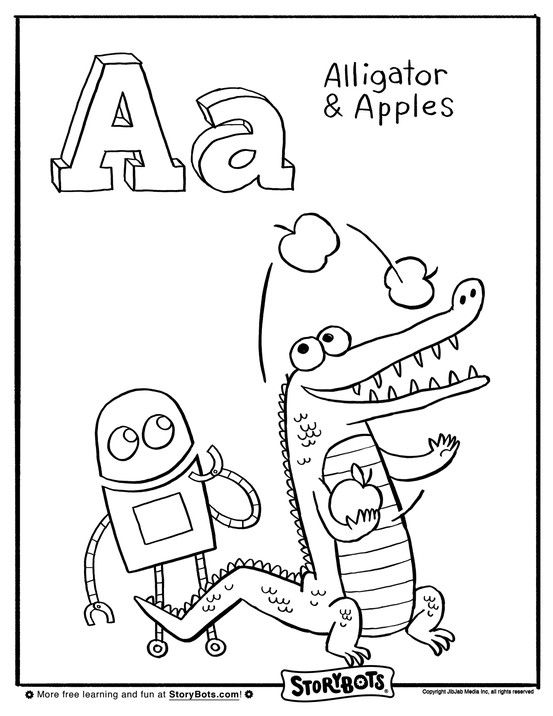 Hooray for A! Here's a coloring sheet with alligators and