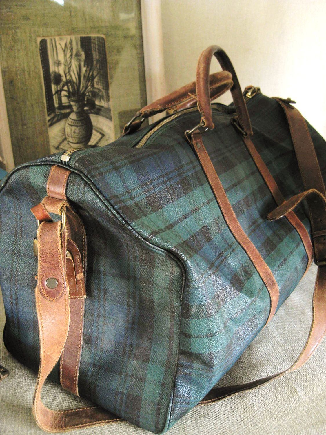 2fc309d5f3 Vintage Classic Ralph Lauren Black Watch Plaid and Leather Weekender bag.