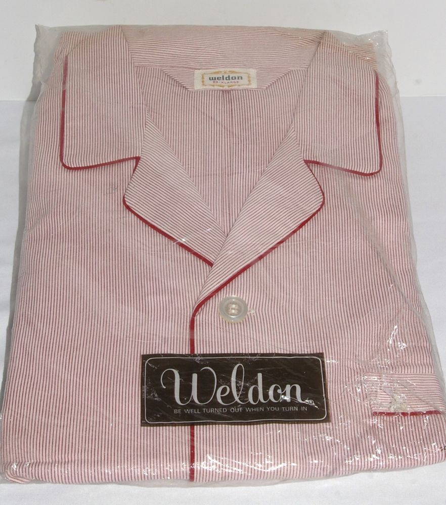 Vintage 1960s WELDON Men s All COTTON Burgundy Red   White STRIPED PAJAMAS  Loungewear XL New In Package! cbb73cb63