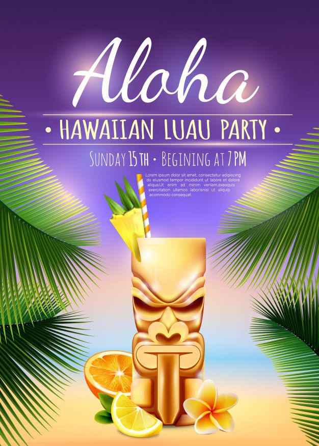 Hawaiian luau party poster Free Vector #hawaiianluauparty