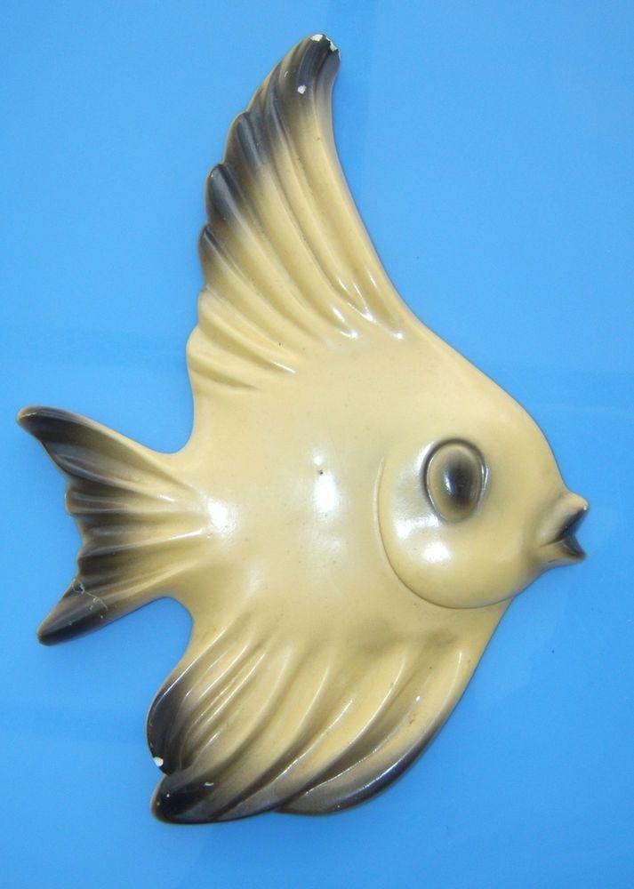 Vintage Chalkware Yellow Fish Wall Decor~12\