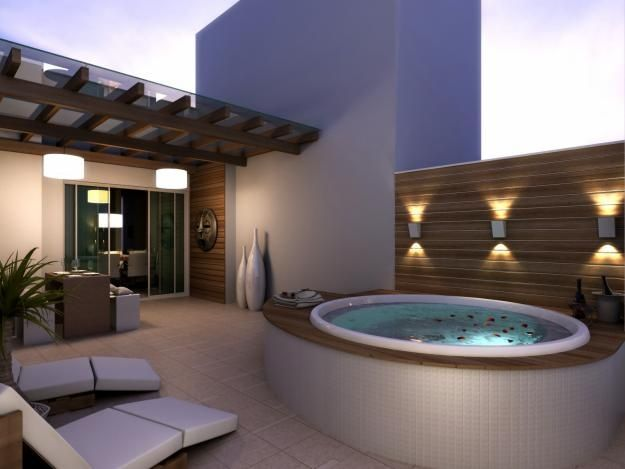Lighting outdoor wall sconces for the hot tub hot tubs - Jacuzzi spa exterior ...
