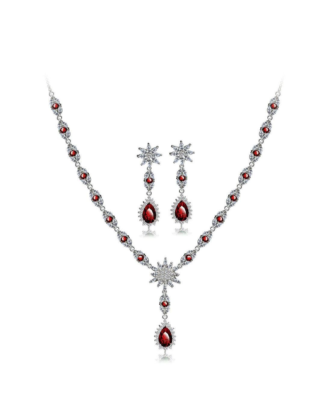AdoreWe VIPme Jewelry Sets Jewelora Rose Red Charm Zircon Water