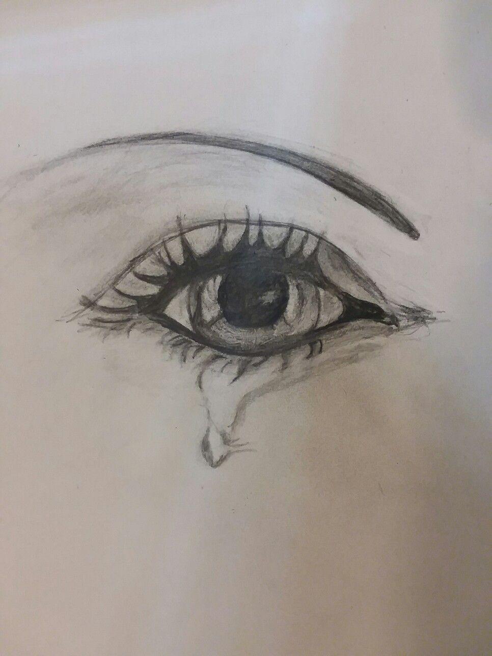 Pencil Drawing Eyes Charcoal Shading Eyelashes Tears By