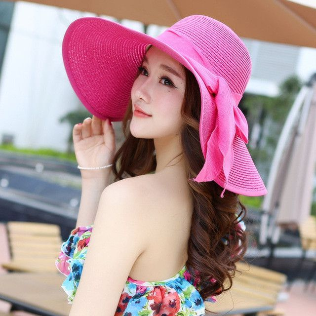 49009bfa7d2 Summer Hats Women s Foldable Wide Large Brim Beach Sun Hat Straw Beach  Breathable Cap For Ladies Elegant Hats Girls