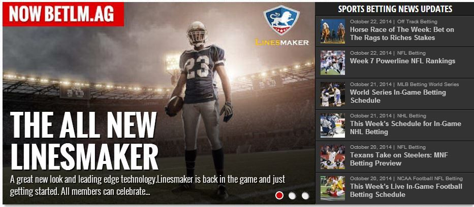 Sports betting lines and odds at Linesmaker Sportsbook