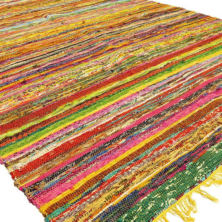 Yellow Colorful Decorative Woven Chindi Bohemian Boho Rag Rug 3 5 X Ft