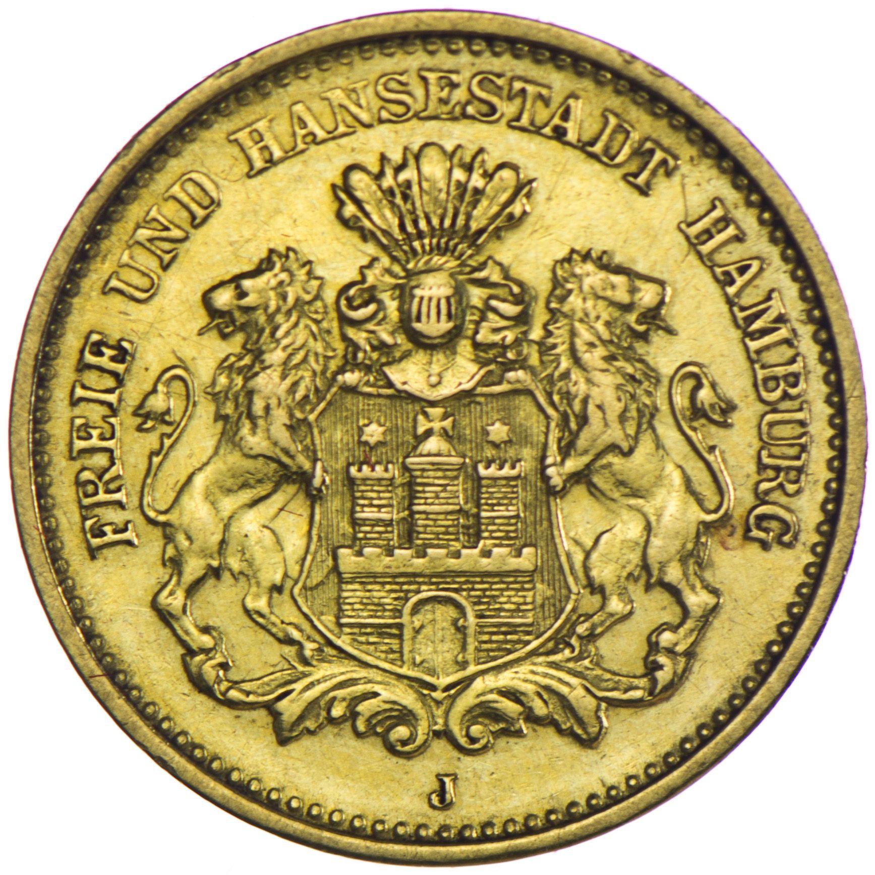 Hamburg 5 Mark 1877 J Gold, Auflage nur 440.000 Stück