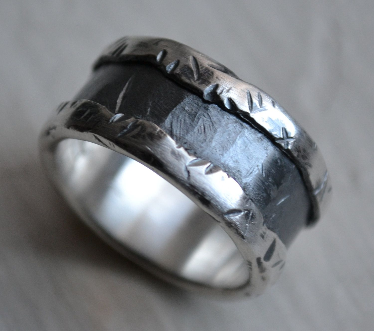 mens wedding band fine silver and sterling silver ring handmade artisan designed wedding or - Unique Wedding Rings For Men