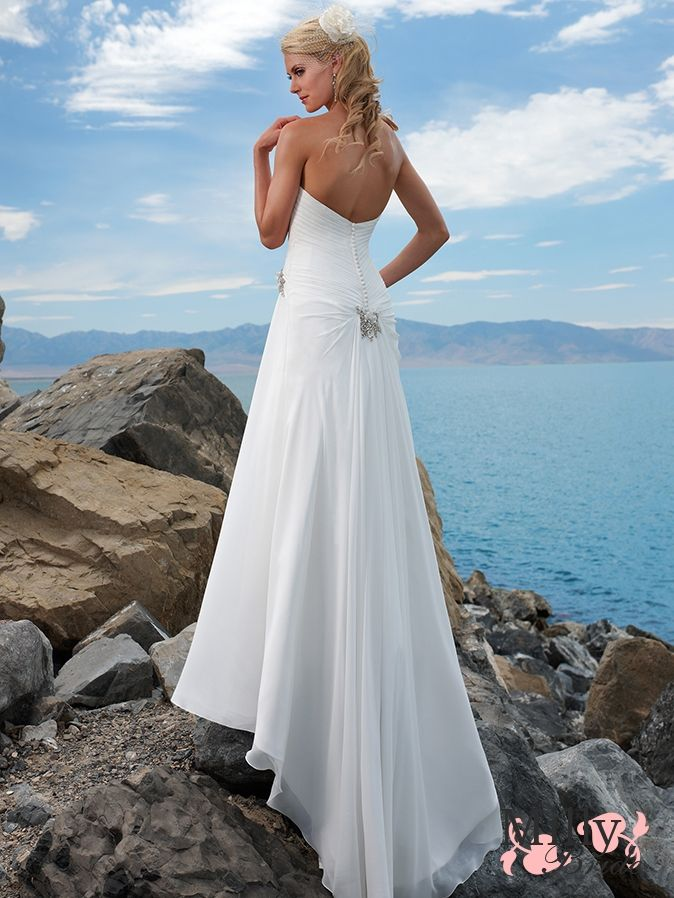White A-line strapless sweep train Column organza Beach Wedding Dresses WDB014
