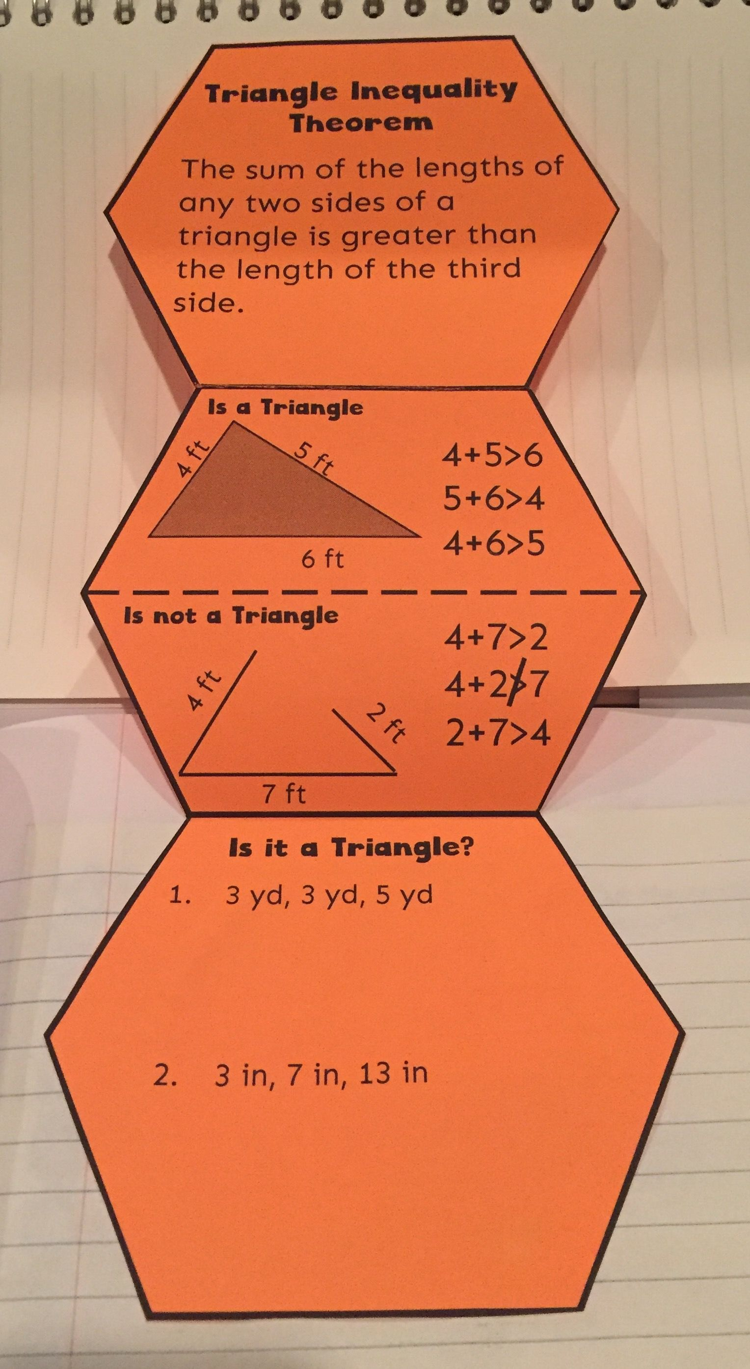 Triangle Inequality Theorem A Foldable And Journaling For Students