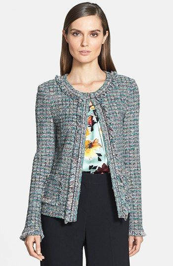 St. John Collection Fringe Trim Donegal Tweed Knit Jacket available at #Nordstrom