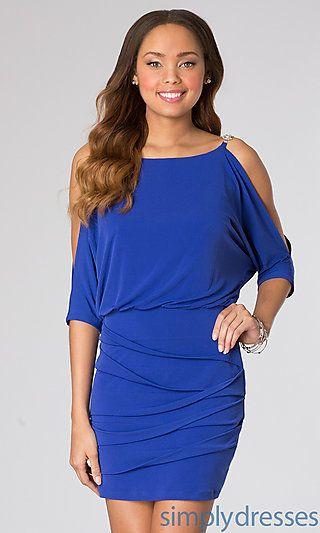 d8f75e3e1df3 Short Blue Dress with Cold Shoulder at SimplyDresses.com