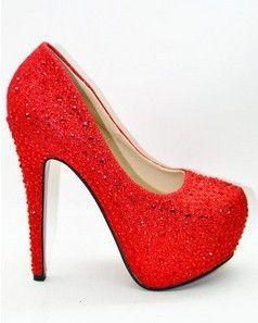 016ba94081c Free shipping Women s sweet crystal platform pumps ultra high heels red  bottom wedding shoes Red Silver