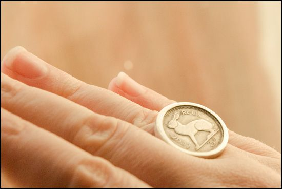 A ring made from an old Irish coin.
