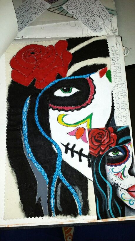 Student RL #culture #dayofthedead #experimentation #recording #artistresponse #fabricpaint #machineembroidery #handembroidery