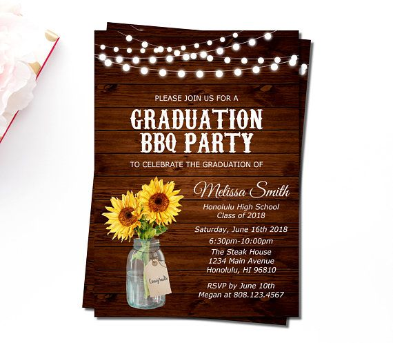 Graduation BBQ Invitation Girl Backyard Barbeque Party Cookout Summer