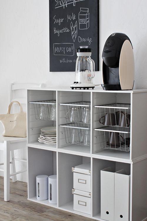 横置きがオシャレ カラーボックスでかんたんカフェ風収納 インテリア 収納 キッチン収納家具 家の整理整頓