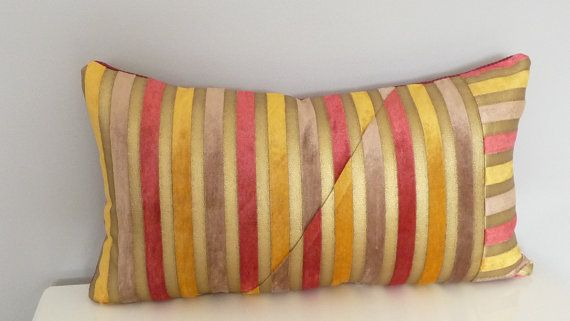 Modern Stripe Velvet Pillow, Custom Geometric Lumbar Decorative Pillow, Gold, Rose Red, Taupe, Luxury Throw Pillow, Unique Sofa Pillow